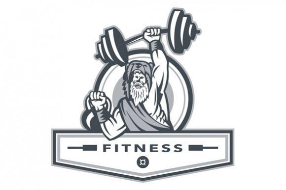 Berserker Lifting Barbell Kettlebell Fitness Circle Retro example image 1