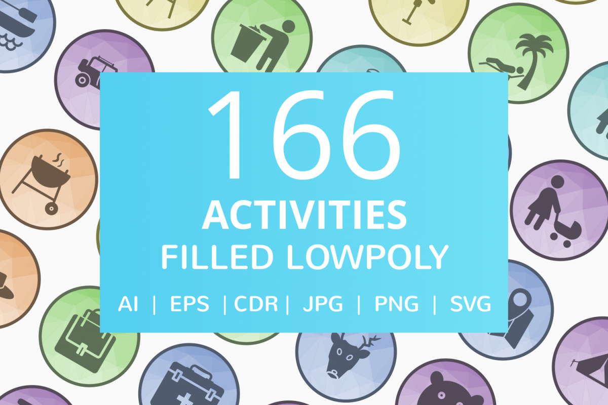 166 Activities Filled Low Poly Icons example image 1