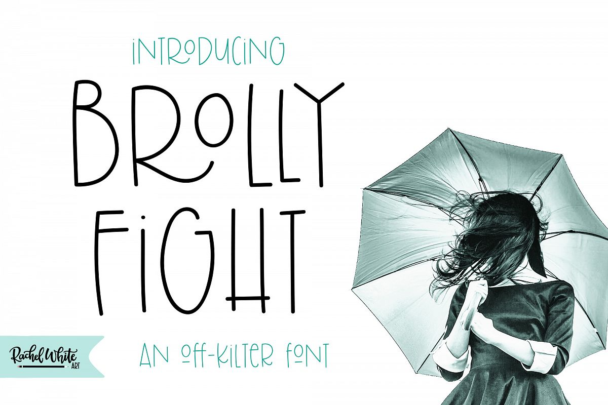 Brolly Fight, an off kilter font example image 1
