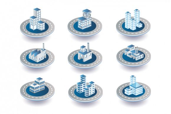 Urban city vector icons example image 1
