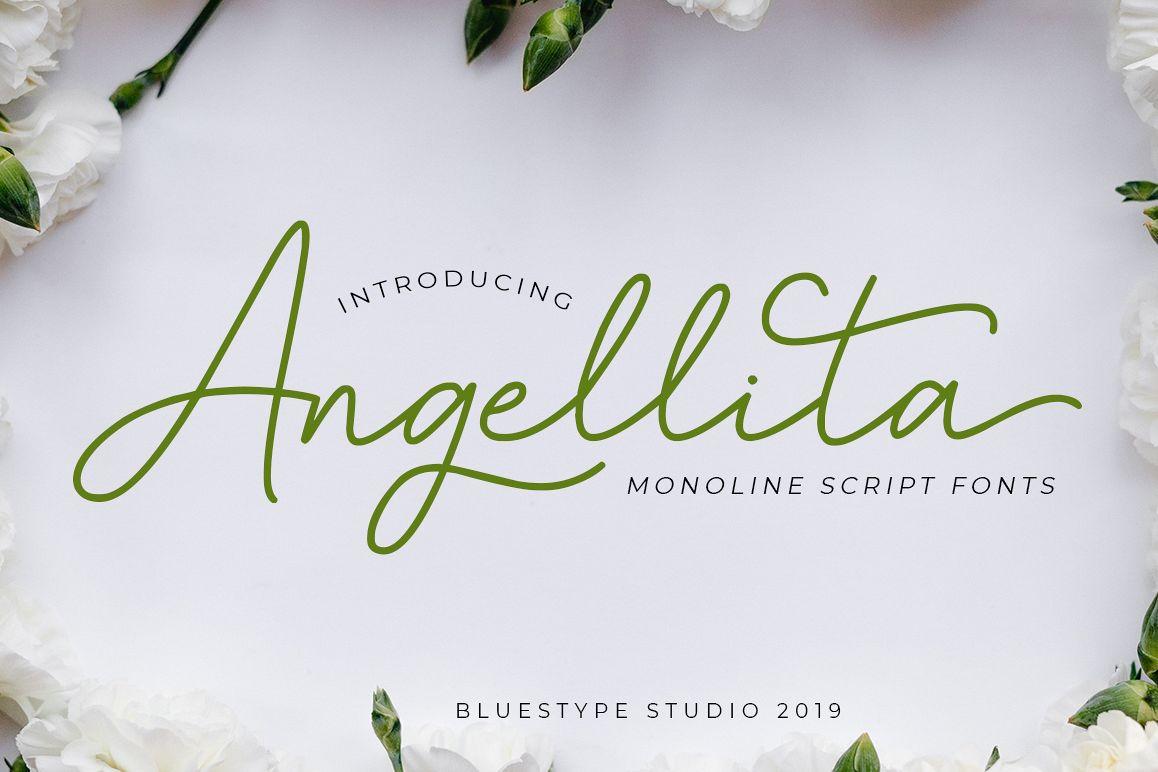 Angellita - Monoline Script Fonts example image 1