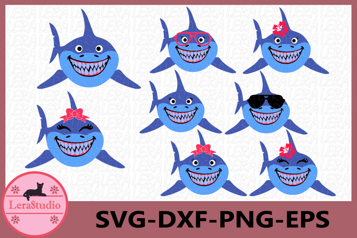 Shark Svg, Shark Sunglasses Svg, Shark Clipart, Beach Svg example image 1