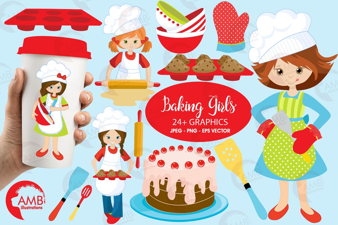 Baking clipart, cooking clipart, Girl chefs clipart, graphics and illustrations AMB-1102 example image 1