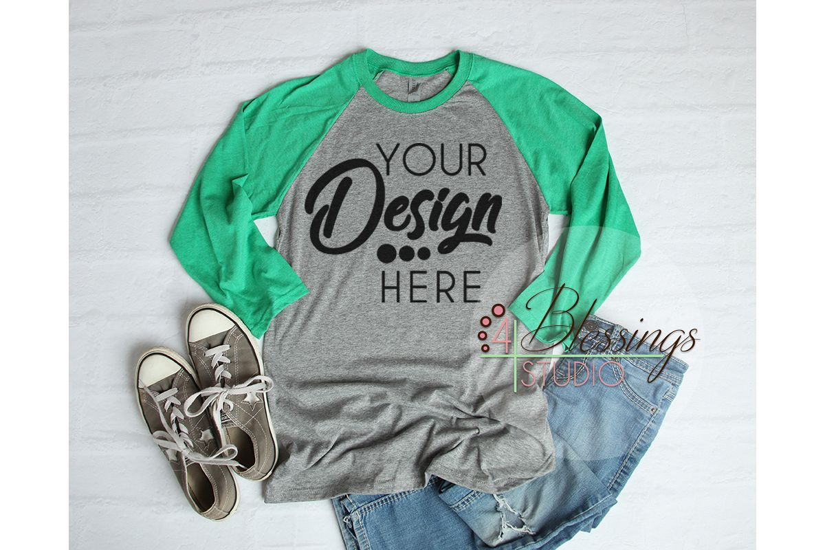 Raglan Shirt Mockup Baseball Tshirt Gray And Green Raglan