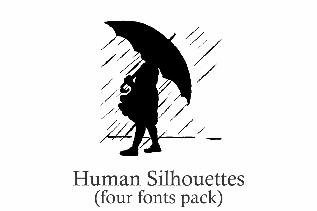 Human Silhouettes Pack - 4 Fonts example image 1