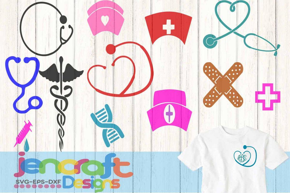 Nurse Nursing RN Monogram Frame Bundle | Design Bundles