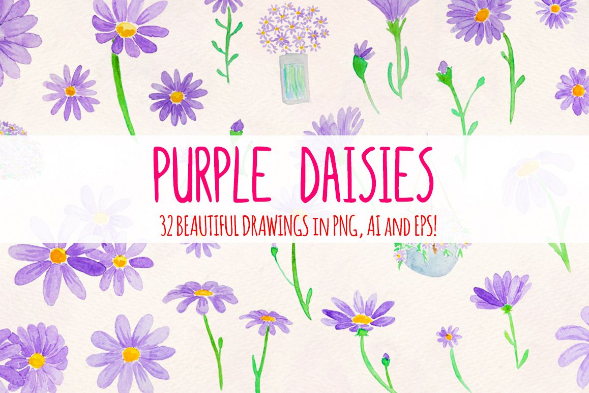 Purple Spring Daisies 32 Watercolor Elements example image 1