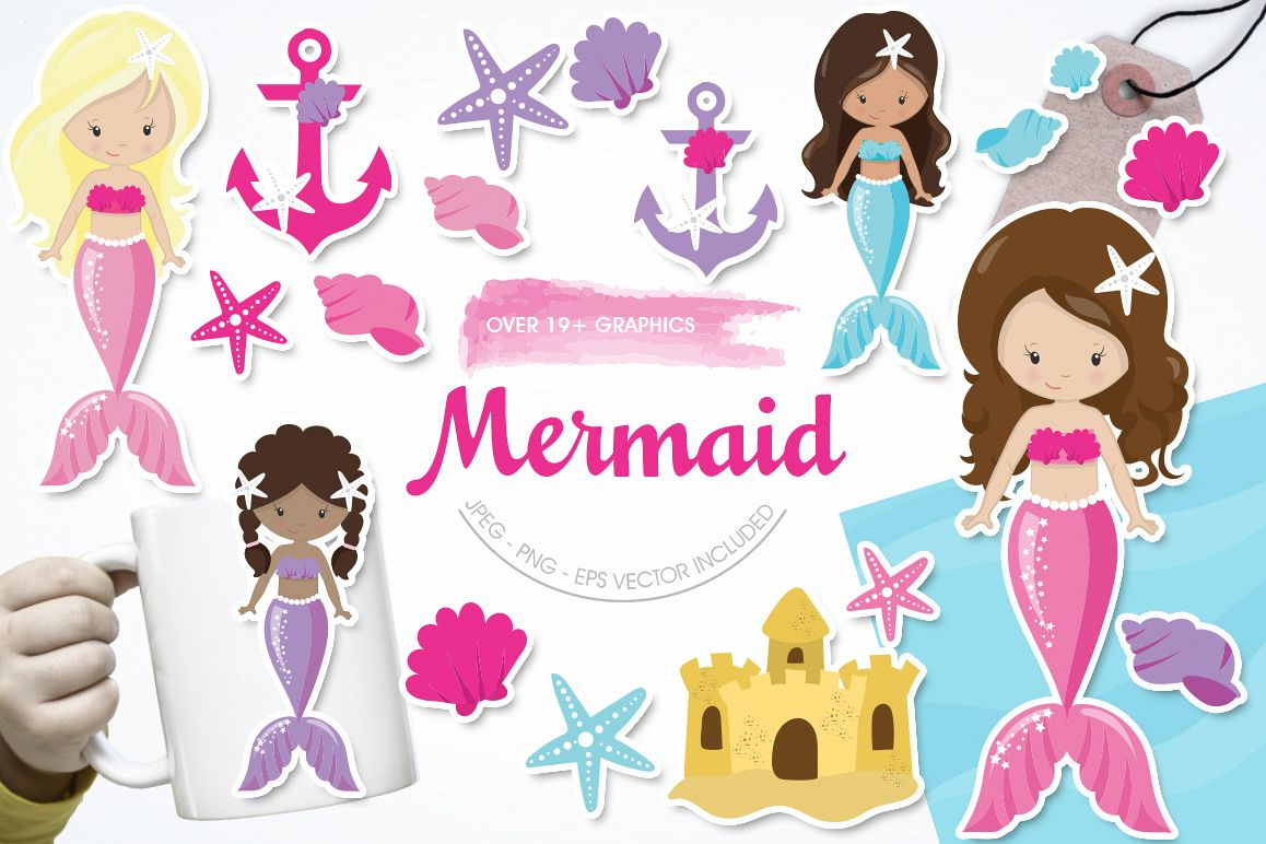 Mermaid graphic and illustrations example image 1