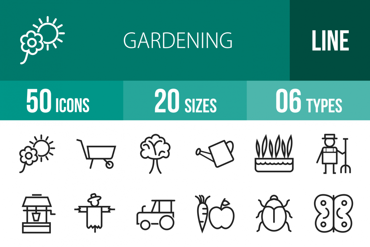 50 Gardening Line Icons example image 1