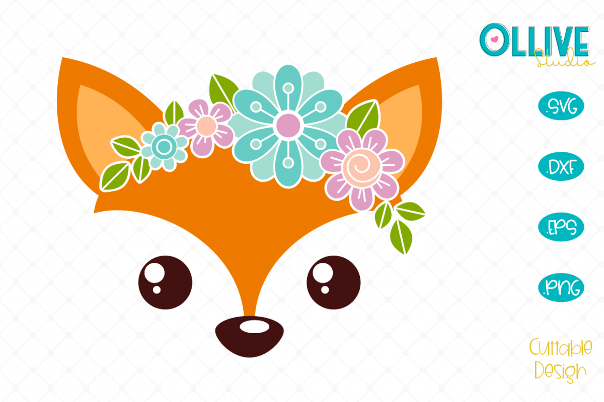 Floral Fox SVG example image 1