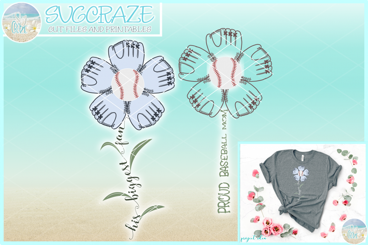 Proud Baseball Mom His Biggest Fan Flower with Leaves SVG example image 1