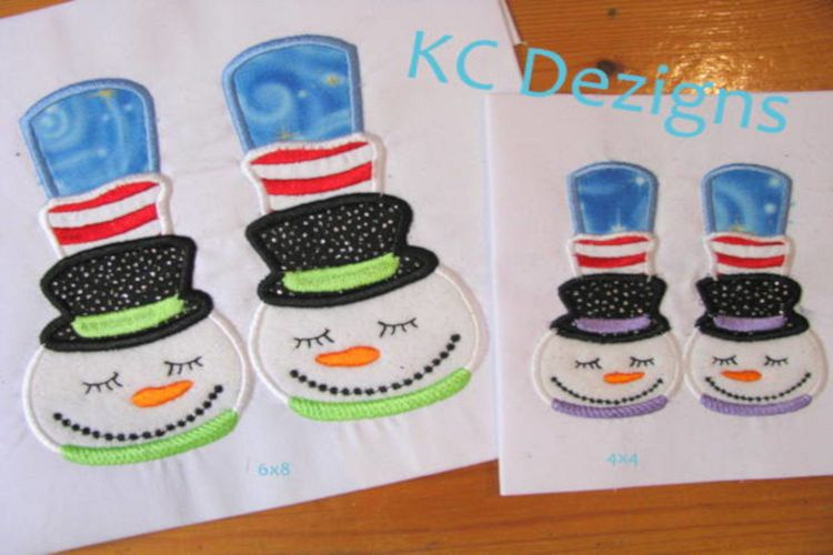 Snowman Feet Machine Applique Embroidery Design example image 1