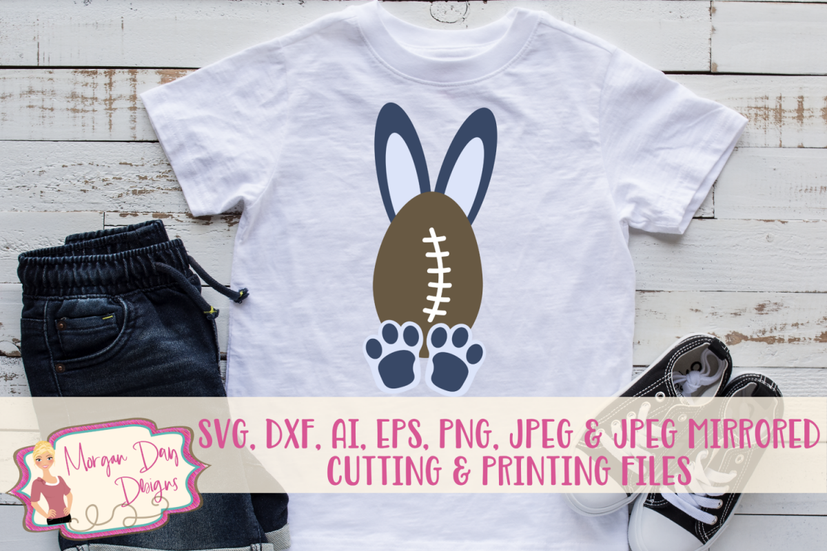 Football Bunny - Easter SVG, DXF, AI, EPS, PNG, JPEG example image 1