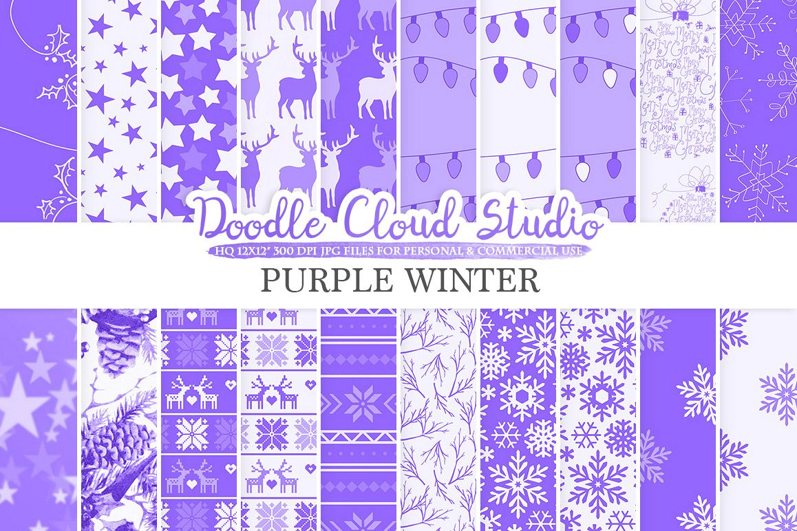 Purple Winter digital paper, Christmas Holiday patterns, Stars Snow deers X-mas backgrounds, Instant Download, for Personal & Commercial Use example image 1