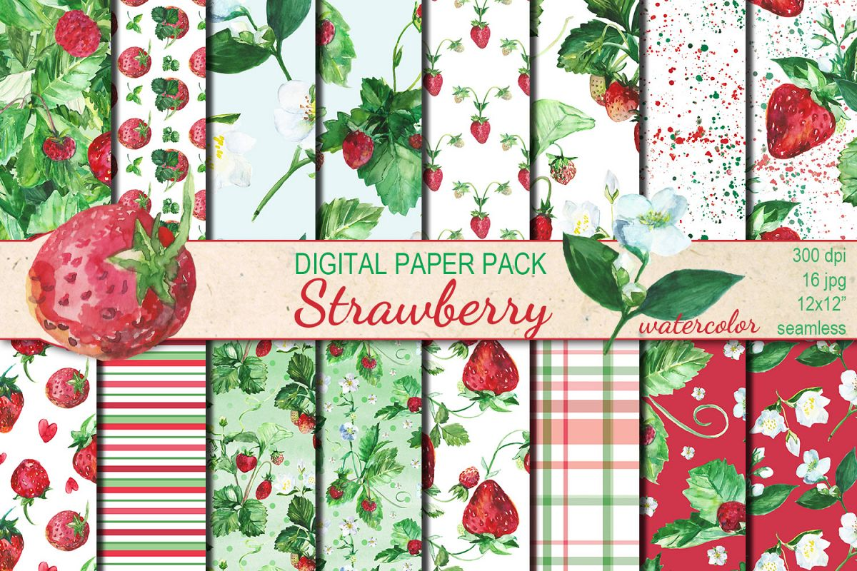 Watercolor Strawberry seamless digital paper pack example image 1