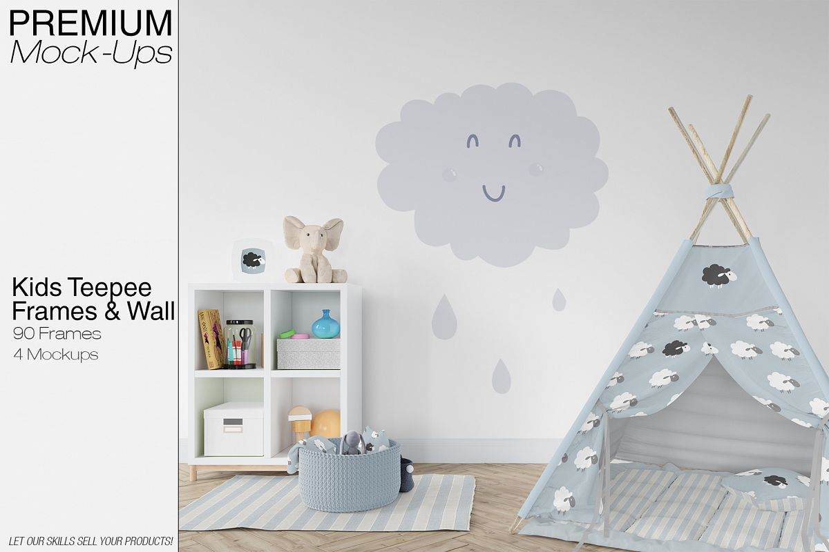 Kids Teepee Tent, Wall & Frames Set by | Design Bundles