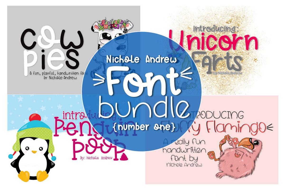 Four Fun Font Bundle example image 1