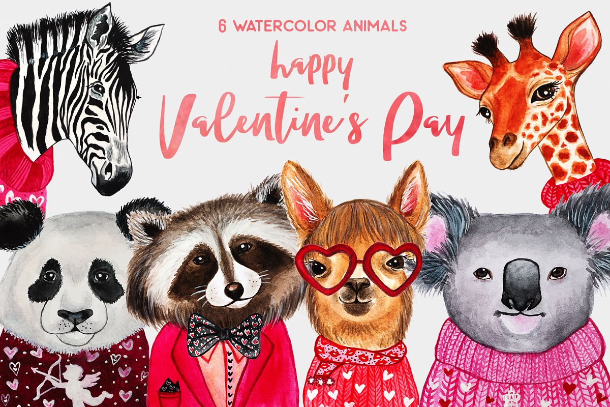 Valentine's Day. Watercolor animals example image 1