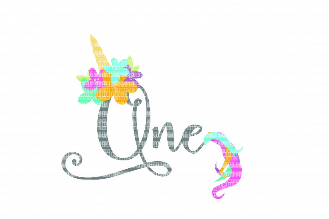 Unicorn Birthday One SVG Files Cut Files Heat Transfer Vinyl Scrapbooking Stencil EPS DXF Silhouette Cameo Cricut Commercial Use example image 1