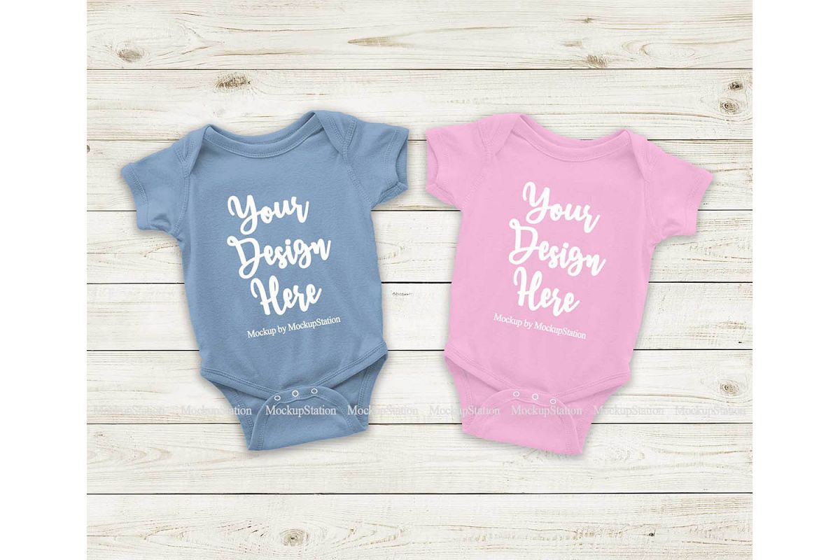 Matching Newborn Blue Pink Baby Bodysuit Mock Up Flat Lay example image 1