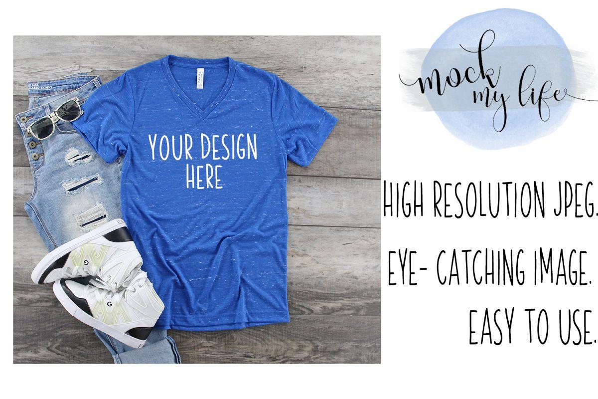 Bella Canvas Mockup / Plain Shirt Mock up / Royal Marble example image 1