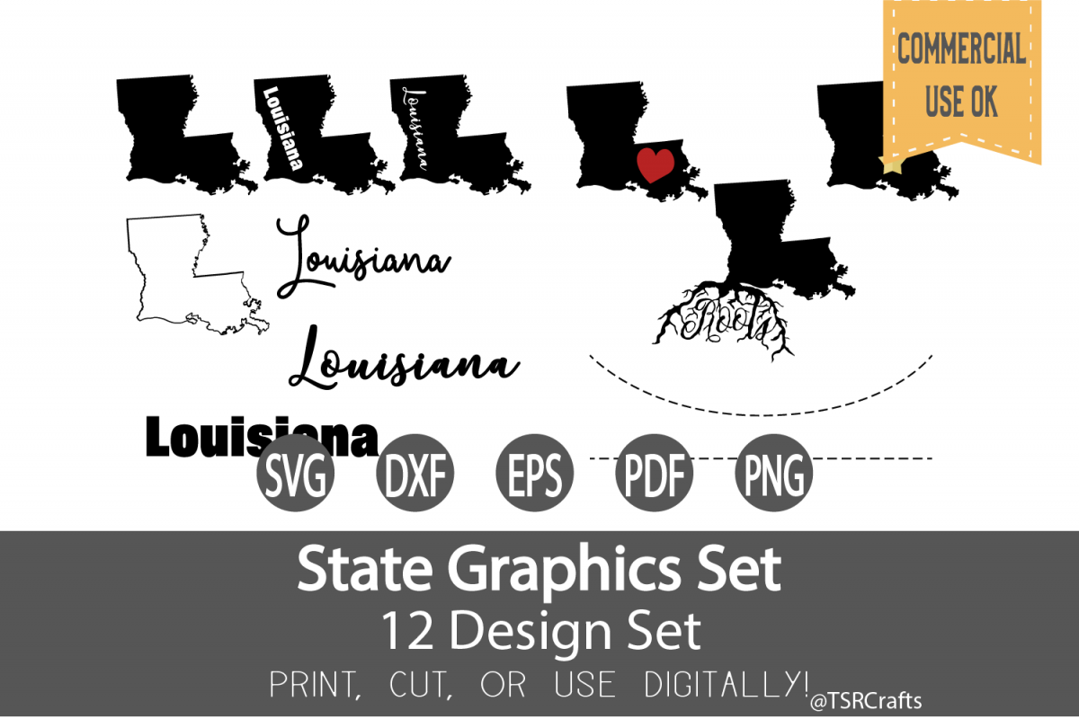 Louisiana State Graphics Set - Clip Art and Digital Cut fil example image 1