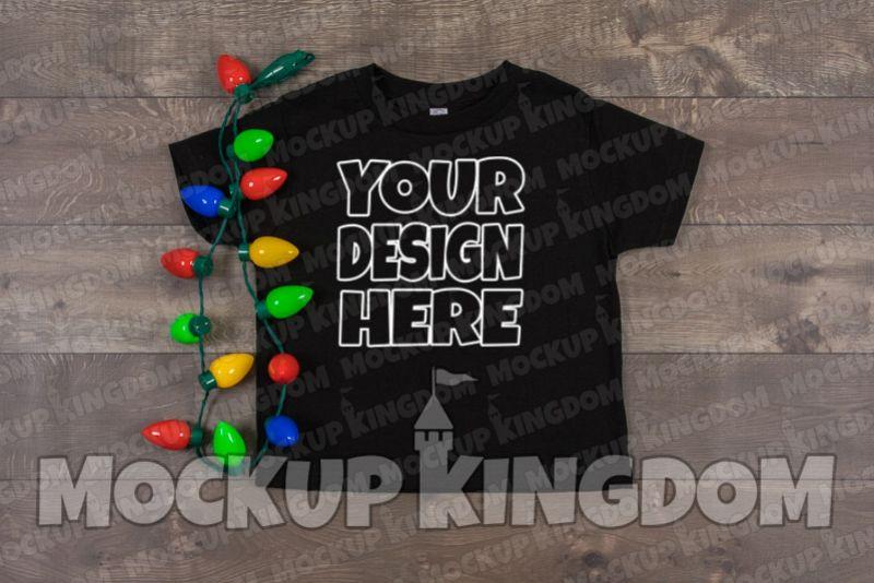 Kids Shirt Mockup, Christmas Shirt Mockup, Youth Tee Mockup example image 1