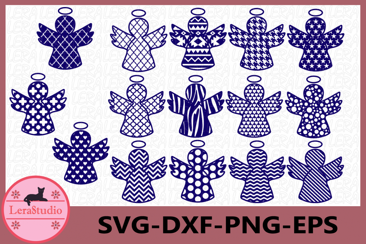Christmas Angels Svg, Christmas Angel Cut File, Angel Vector example image 1