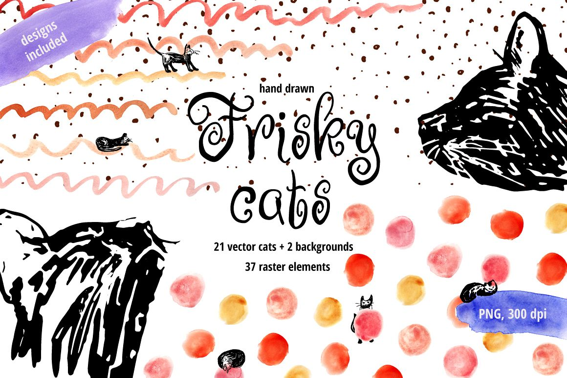 Frisky Cats - watercolor and graphic example image 1
