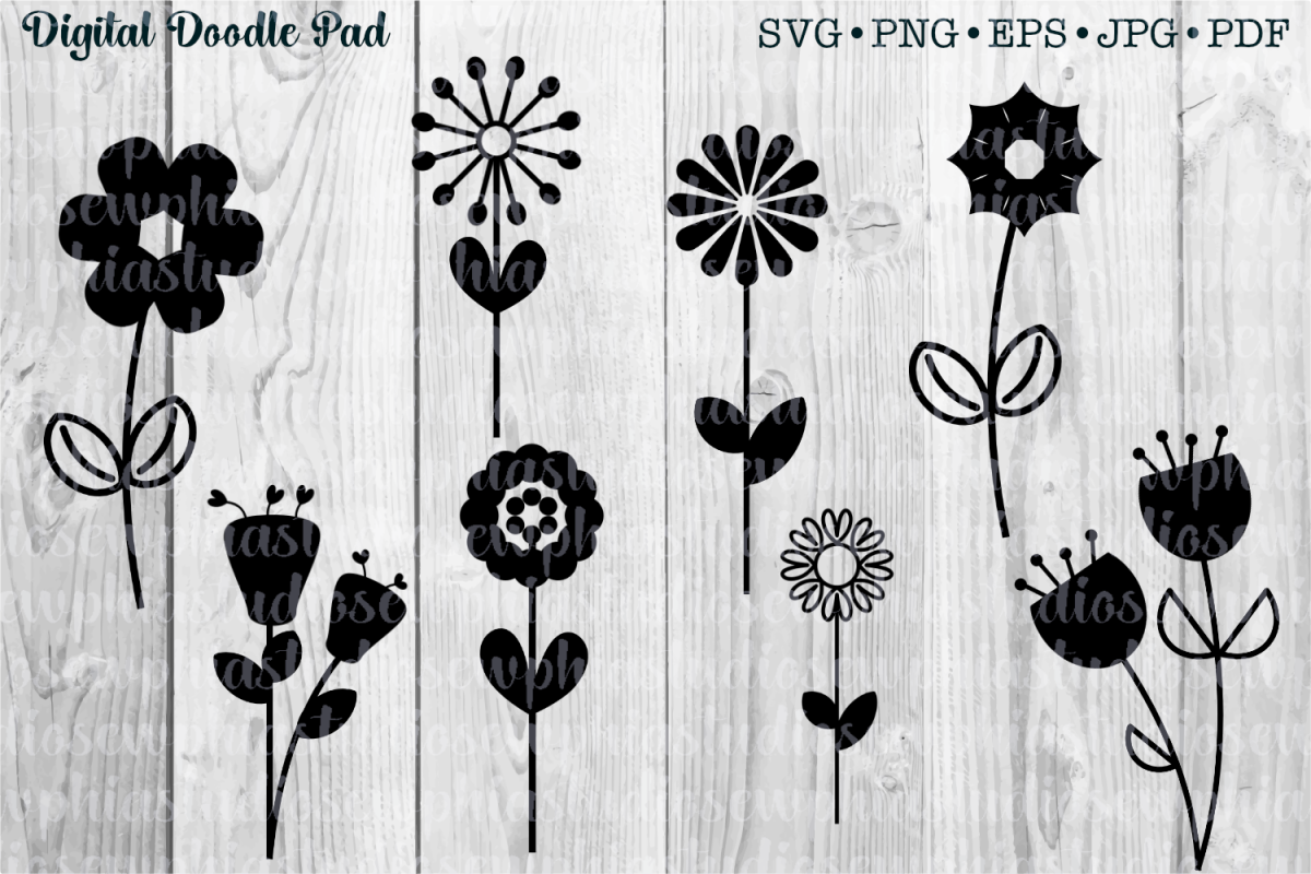 Flower and Stem Templates by Digital Doodle Pad example image 1