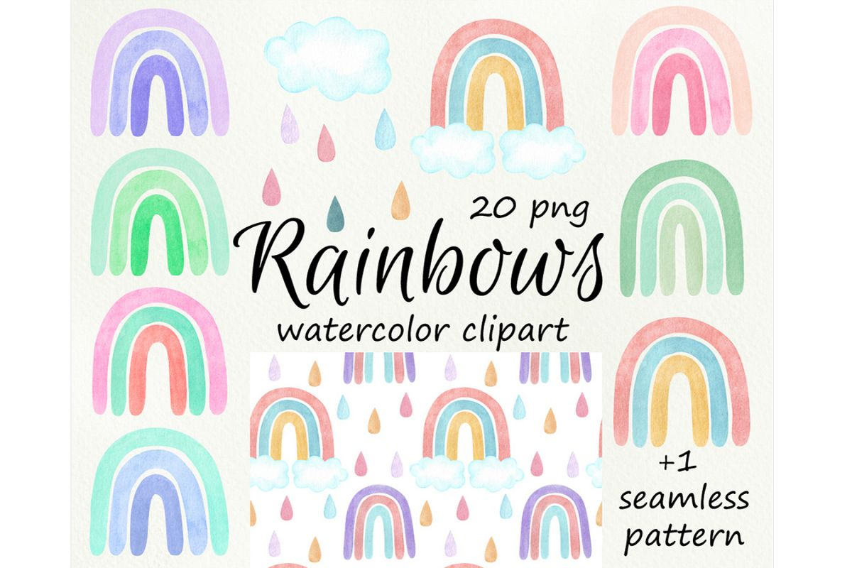 Watercolor rainbows clipart. Baby shower, nursery example image 1