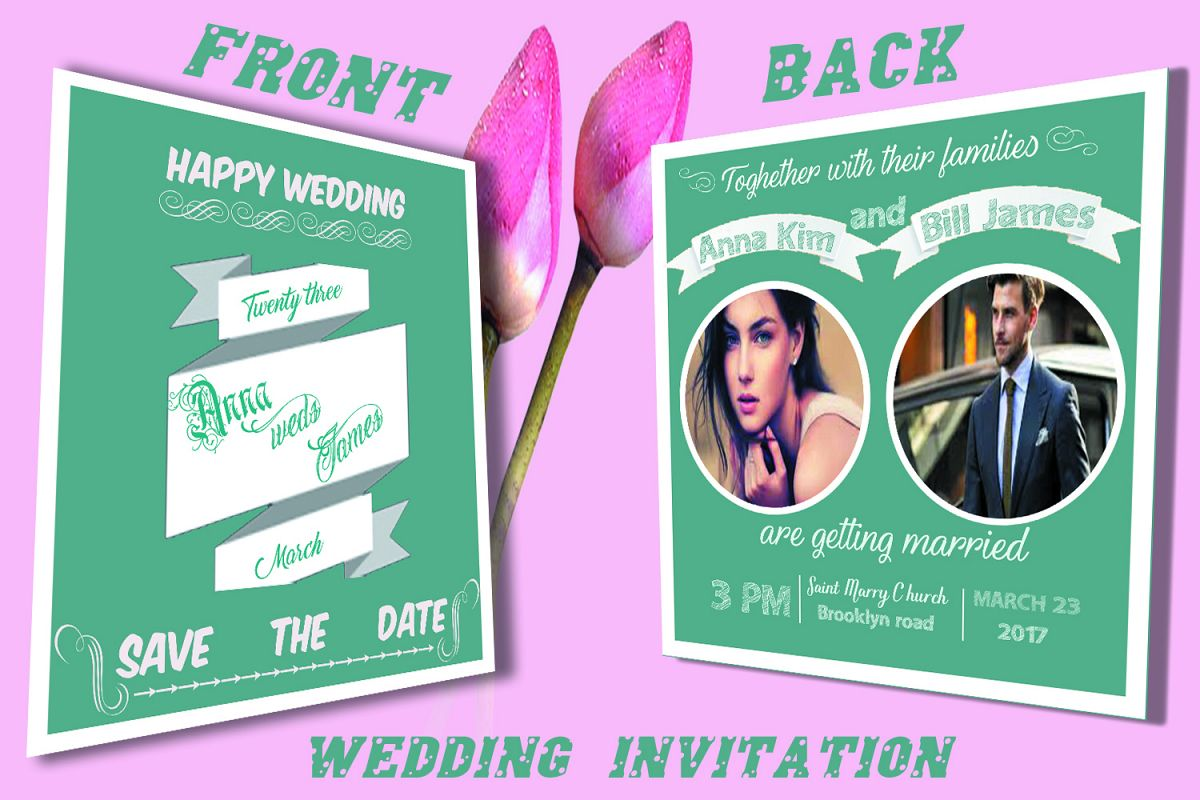 Wedding Invitation Card front and back example image 1