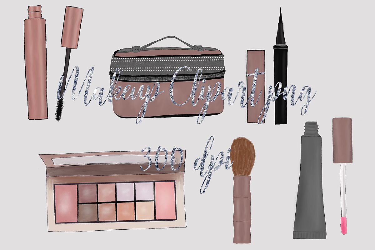 Makeup clipart Rose gold theme Fashion illustration example image 1