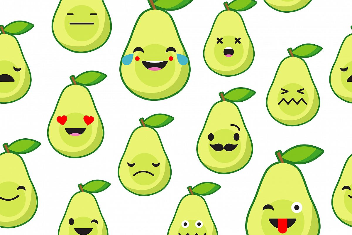 Seamless background with Avocado emotions. example image 1