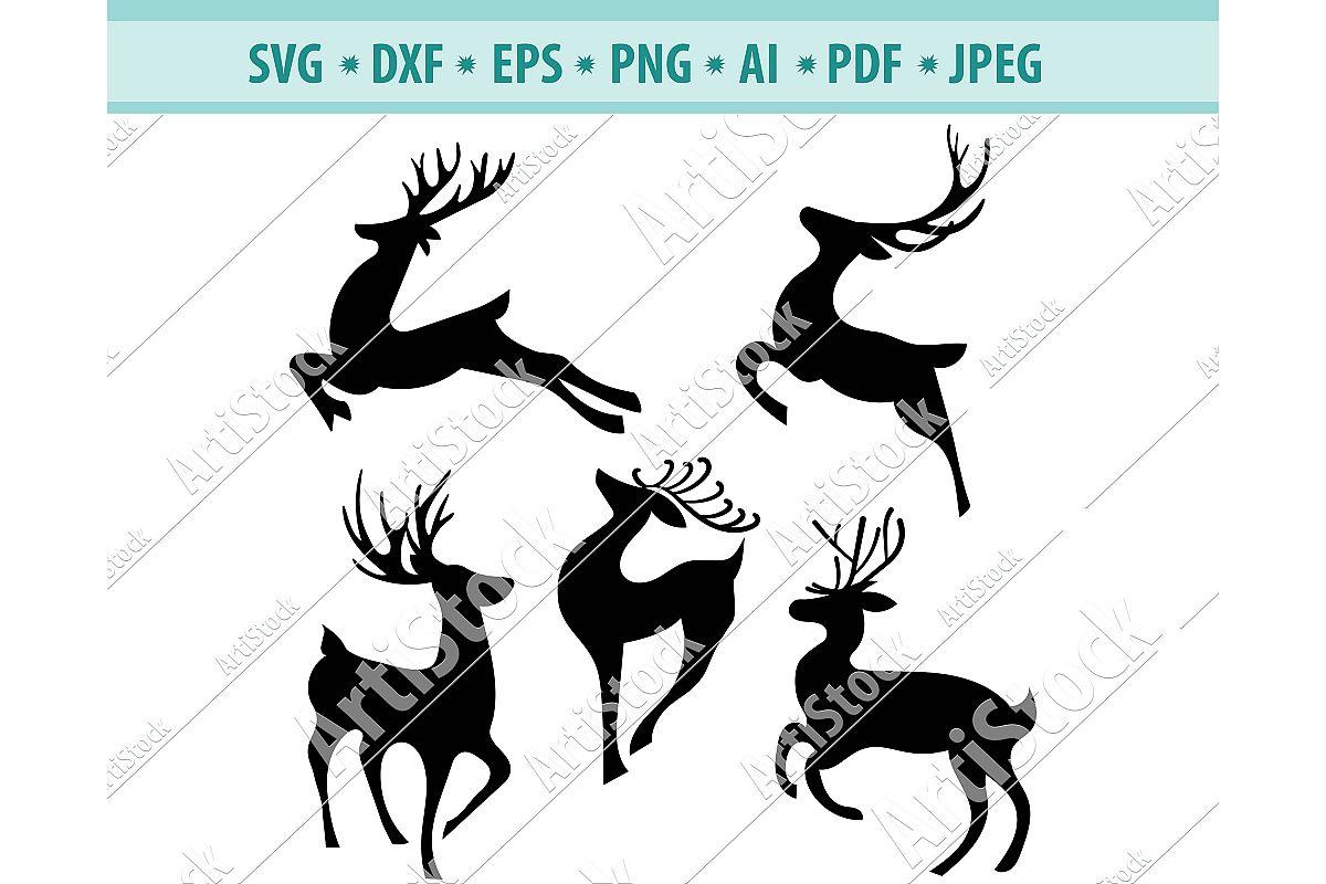 Reindeer svg, Christmas deer svg, Running deer Svg, Eps,Dxf example image 1