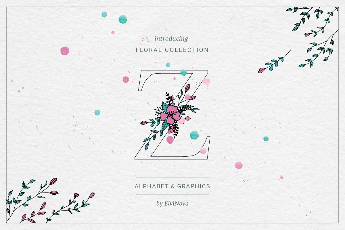 Floral Alphabet & Graphics example image 1