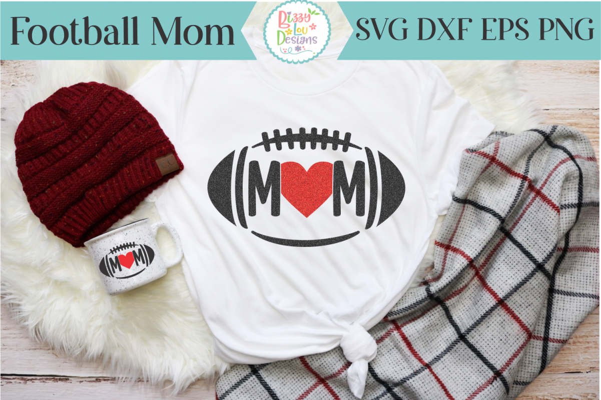 Football Mom SVG - Cutting File - Football SVG example image 1