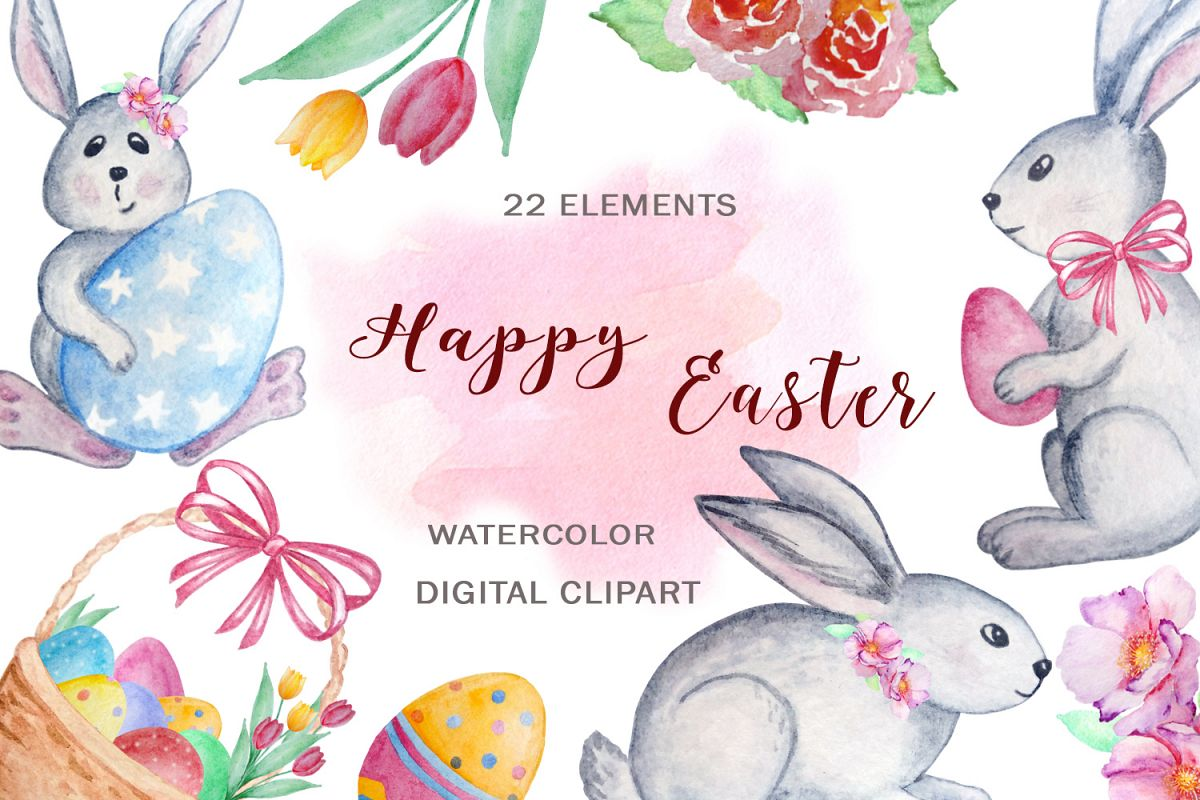 Watercolor Happy Easter Clipart Set example image 1