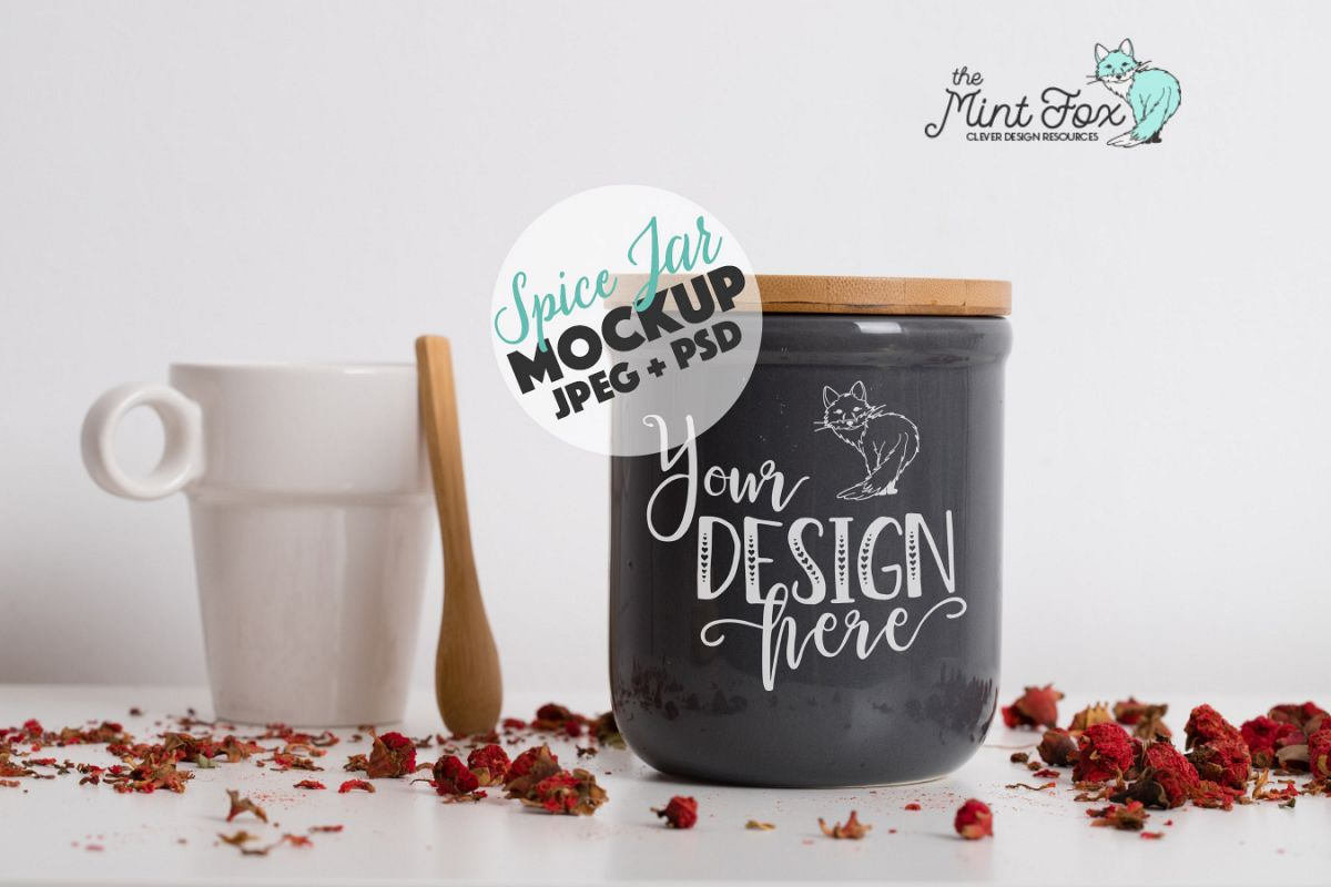 Spice Jar Mockup | PSD & JPG Kitchen Mock Up example image 1