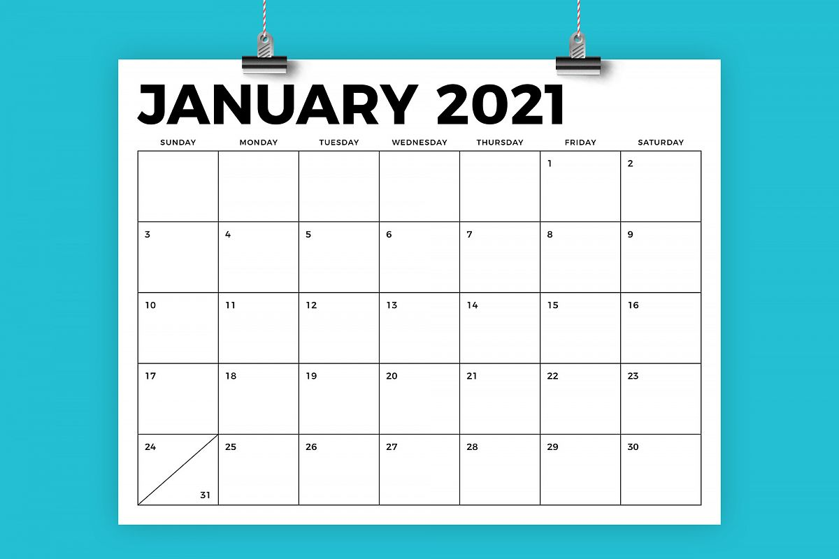 8.5 x 11 Inch Bold 2021 Calendar example image 1