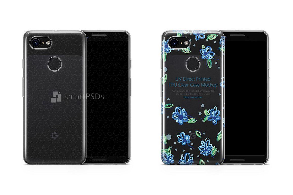 Google Pixel 3 UV TPU Clear Case Mockup 2018 example image 1