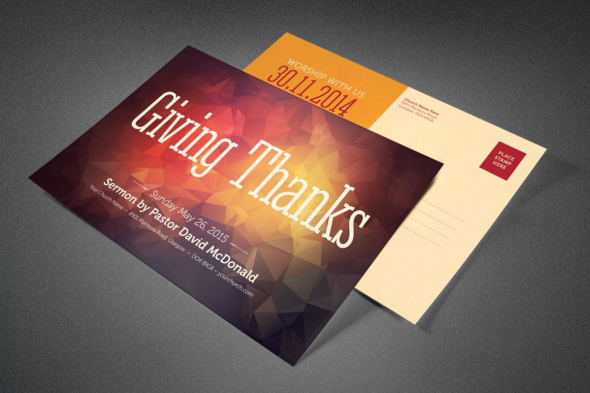 Giving Thanks Church Postcard example image 1