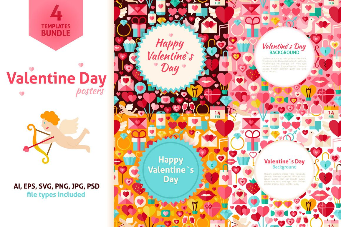 Valentine Day Vector Posters example image 1
