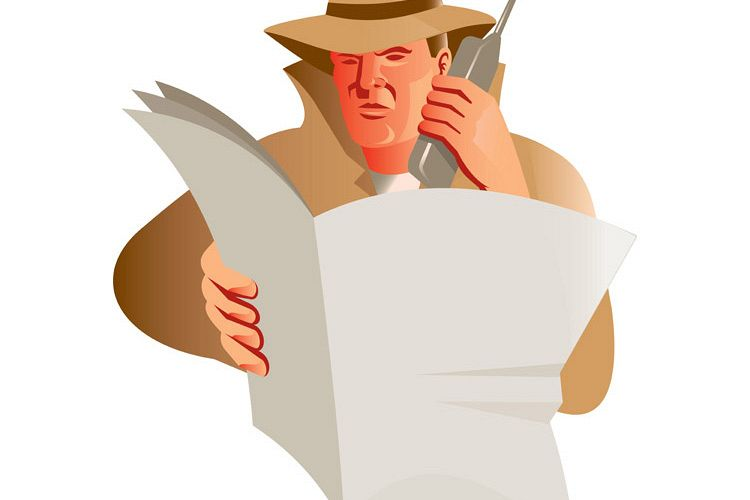 male detective calling cellphone newspaper example image 1