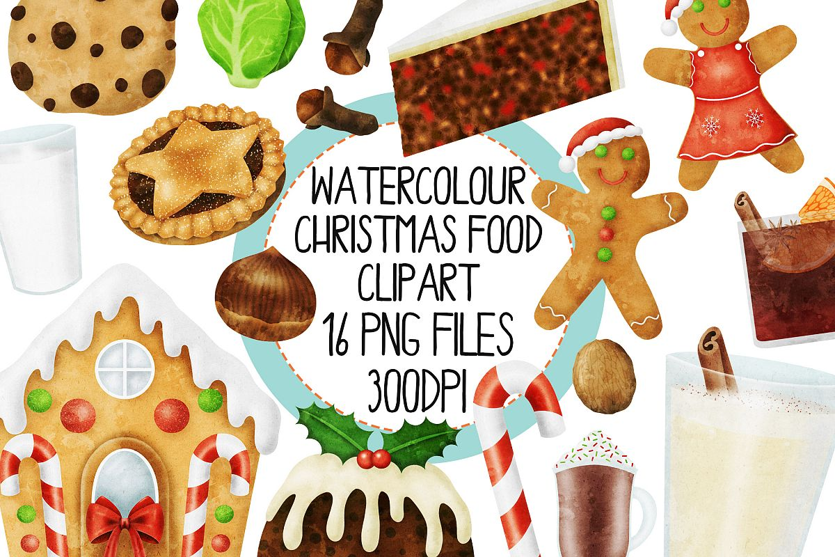 Watercolor Christmas Food Clipart Set 1 example image 1