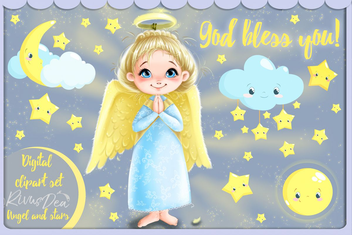 Cute Angel girl with moon and stars Christmas clipart kit example image 1