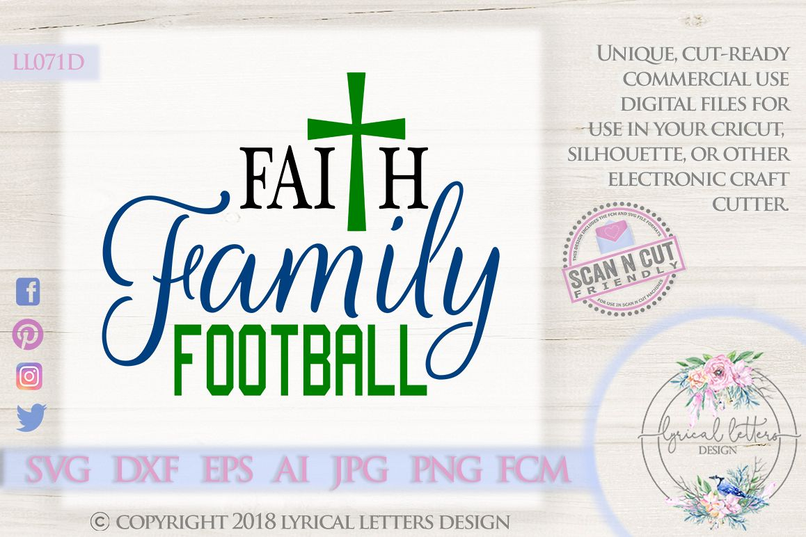Faith Family Football with Cross SVG DXF Cut File LL071D example image 1