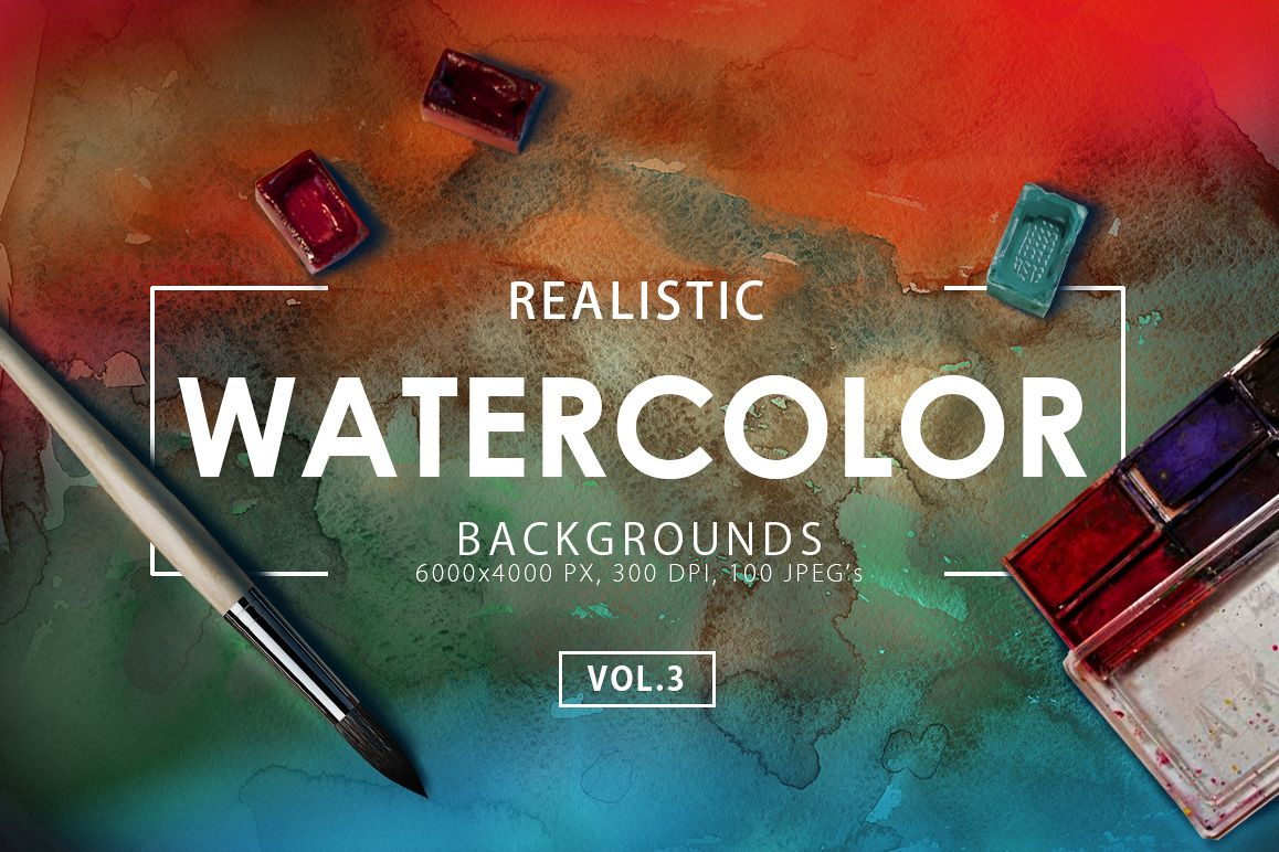 100 Watercolor Backgrounds Vol.3 example image 1