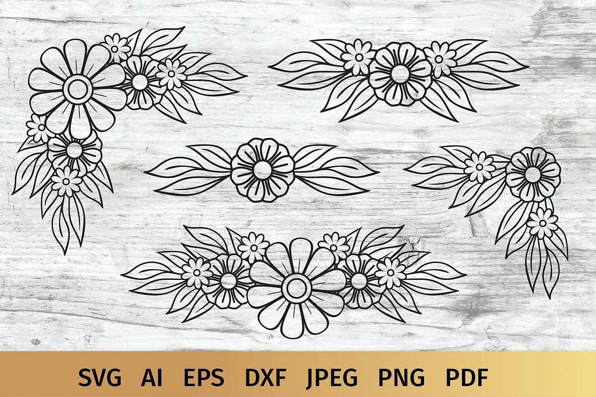 Floral Border and Corner Svg example image 1