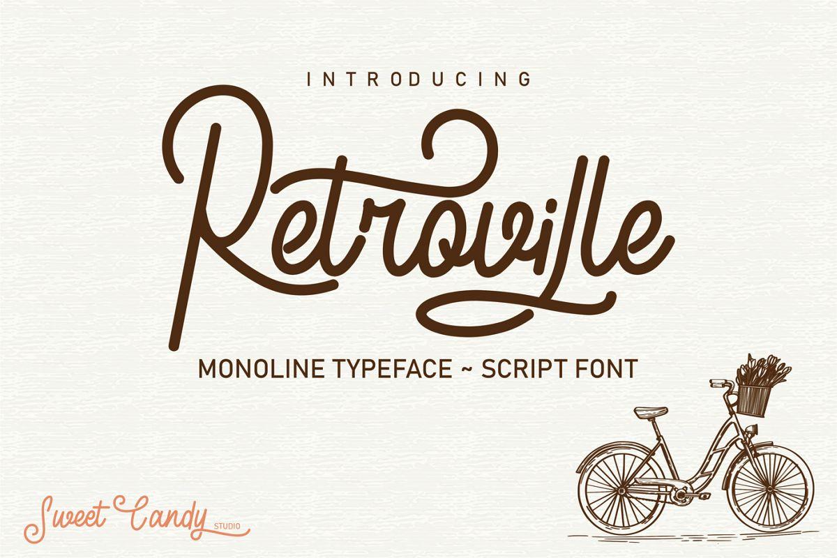Retroville Monoline Typeface - Script Font example image 1